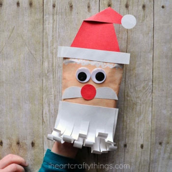 Mikulás kesztyűbáb papírborítékból - kreatív ötlet gyerekeknek mikulásra