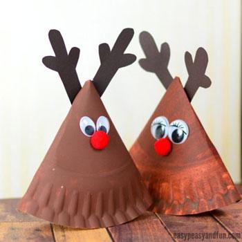 Hintázó Rudolf rénszarvas - kreatív ötlet gyerekeknek papírtányérból