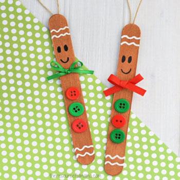 Jégkrém pálcika mézeskalács figura karácsonyfadísz - kreatív ötlet gyerekeknek
