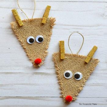 Rudolf rénszarvas karácsonyfadísz juta anyagból - kreatív ötlet gyerekeknek
