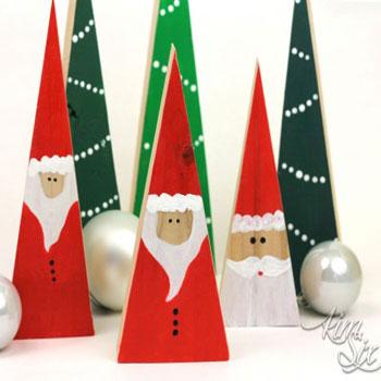 Egyszerű fa háromszög mikulás - kreatív karácsonyi dekoráció fából
