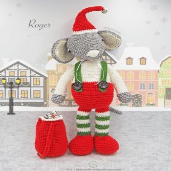 Roger a karácsonyi amigurumi egér (ingyenes amigurumi minta)