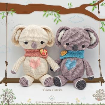 Gina és Dante a szíves koalabocs pár (ingyenes amigurumi minta)