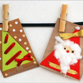 Paper, cotton and punch-hole christmas cards