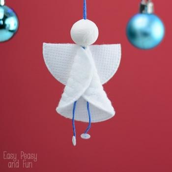 Vattakorong angyalka - egyszerű karácsonyfadísz kozmetikai korongból