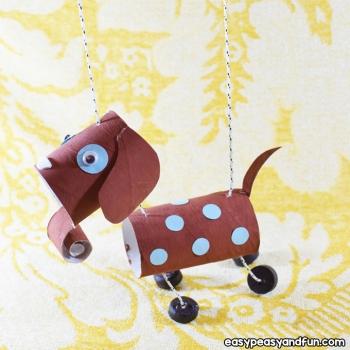 Aranyos marionett kutya báb wc papír gurigából - kreatív ötlet gyerekeknek
