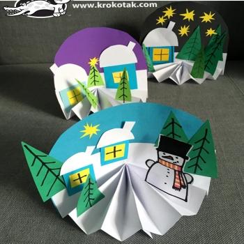 Téli falu színes papírból - egyszerű téli ötlet gyerekeknek papírból