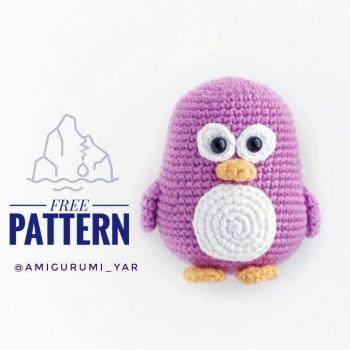 Kicsi lila amigurumi pingvin (ingyenes amigurumi minta)