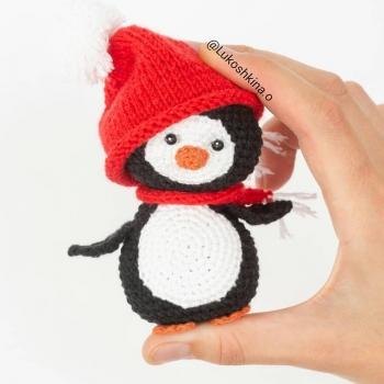 Mini sapkás-sálas amigurumi pingvin (ingyenes amigurumi minta)