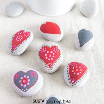 Kavics szívecske - kavicsfestés egyszerűen ( Valentin napi ajándék / dekoráció )
