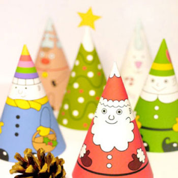 Printable christmas decorations: Santa and his friends