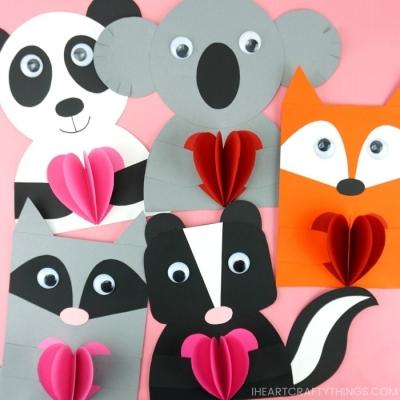 Aranyos állatos Valentin napi képeslapok papírból egyszerűen