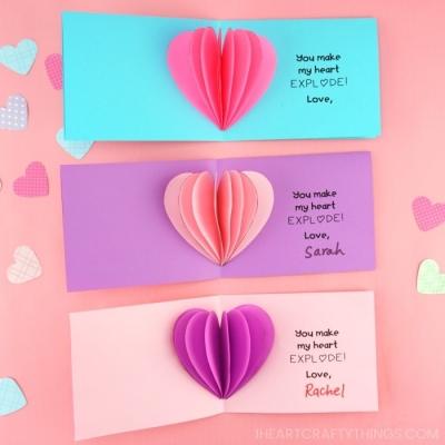 Egyszerű térbeli szívecskés romantikus képeslap ( Valentin napi képeslap )