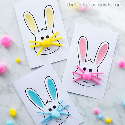 Egyszerű pompon orrú  húsvéti nyuszis képeslap - húsvéti ötlet gyerekeknek