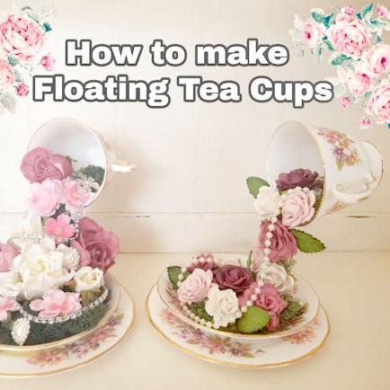Lebegő csésze / virágkiöntő csésze - tavaszi dekoráció teáscsészéből egyszerűen