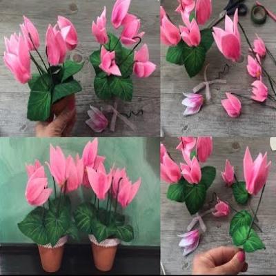 Örökké virágzó cserepes filc virág (filc ciklámen) egyszerűen házilag