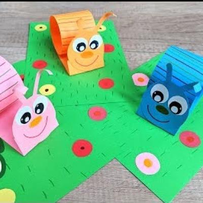 Cuki térbeli papír csiga színes papírból - kreatív ötlet gyerekeknek