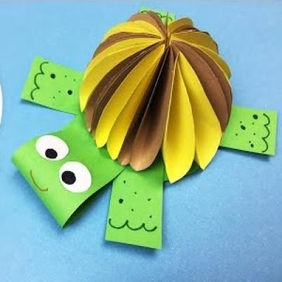 Cuki papír teknős térbeli páncéllal - kreatív ötlet gyerekeknek