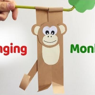 Faágon csüngő papír majom - kreatív ötlet gyerekeknek papírból