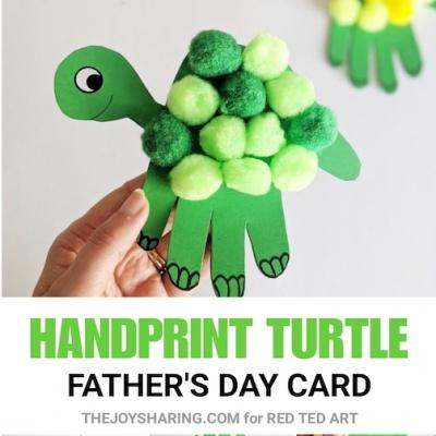 Pomponos papír kézkörvonal teknős - kreatív képeslap ötlet gyerekeknek