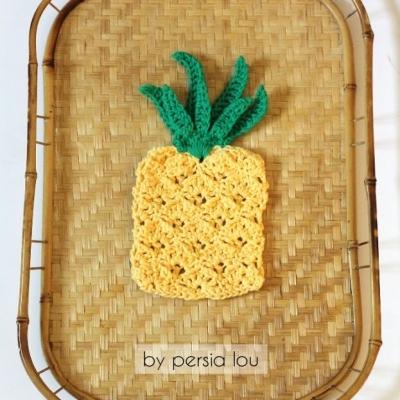 Horgolt ananászos mosogatórongy (ingyenes angol horgolásminta)
