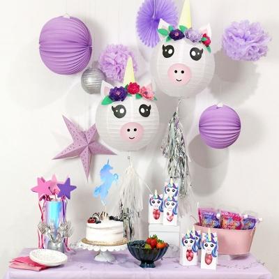 Unikornis papírlámpás - kreatív gyerekzsúr / gyerekszoba dekoráció egyszerűen
