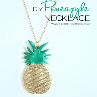 Divatos ananászos nyaklánc levegőre keményedő gyurmából egyszerűen