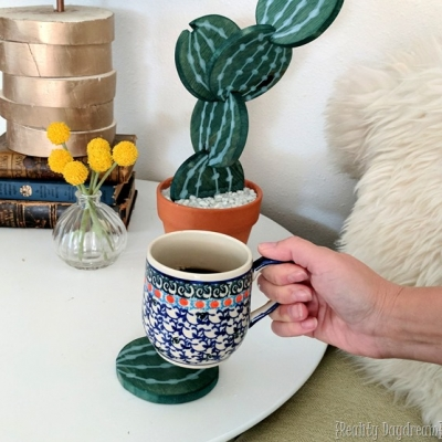Poháralátét kaktusz fából - kreatív,vicces és praktikus lakásdekoráció
