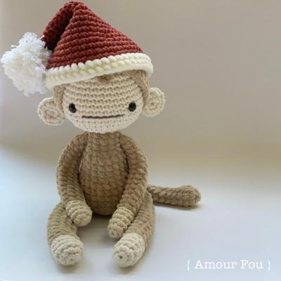 Fausto  a karácsonyi amigurumi majom (ingyenes amigurumi minta)