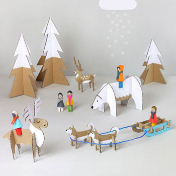 Téli világ játékszett kartonpapírból (nyomtatható mintaívvel)