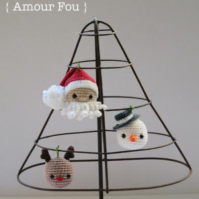 Amigurumi karácsonyfadísz (Mikulás, rénszarvas, hóember) - ingyenes minták