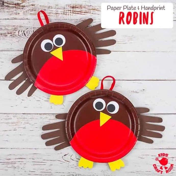 Papírtányér vörösbegy kézkörvonal szárnnyal - kreatív ötlet gyerekeknek őszre