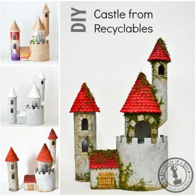 Kartonpapír kastély (kartonpapír vár) egyszerűen papír hengerekből