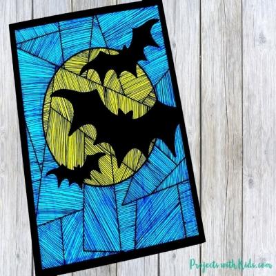 Vonalas - denevéres papírkép egyszerűen - kreatív ötlet Halloweenra