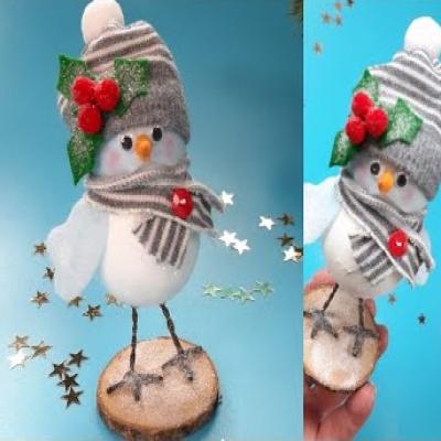 Cuki karácsonyi madárka dísz hungarocell golyóból