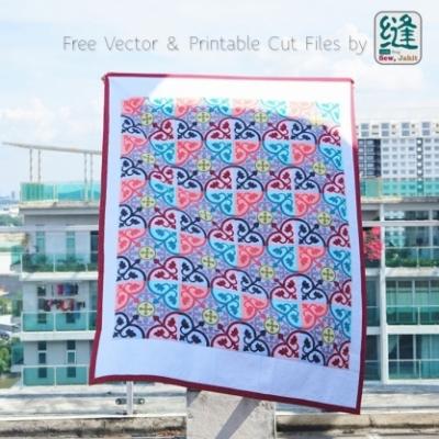 Csempe mintás patchwork takaró ( gépi tűzött takaró ) - ingyenes sablonnal