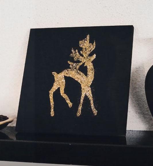 Arany csillámpor rénszarvas karácsonyi falikép házilag egyszerűen