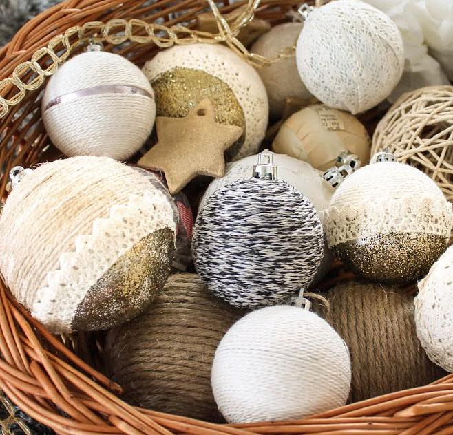 Ronda karácsonyfadísz gömbök új ruhában - karácsonyfadísz dekorációs ötletek