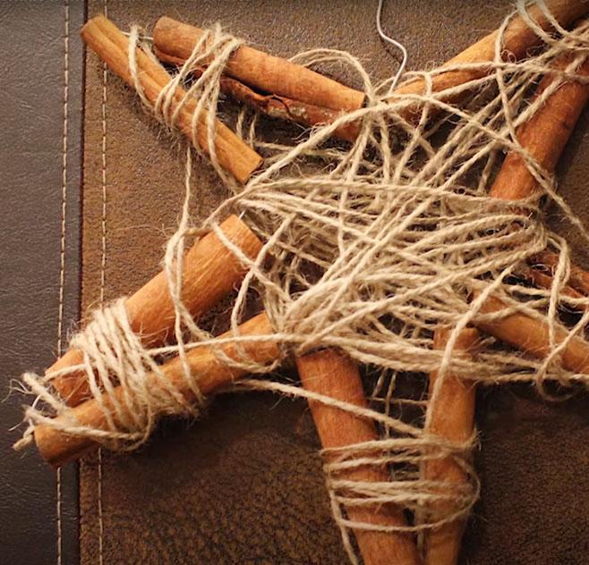 Egyszerű karácsonyi csillag fahéjrudakból - rusztikus karácsonyfadísz házilag