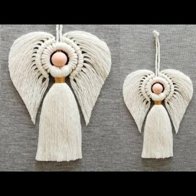DIY Makramé angyal - fonal angyal készítése házilag csomózással