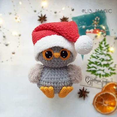 Karácsonyi amigurumi bagoly (ingyenes amigurumi minta)
