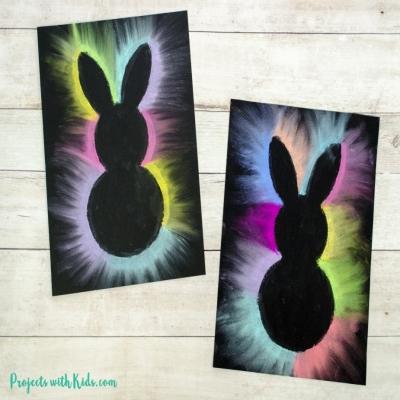 Nyuszis pasztellkréta kép egyszerűen - húsvéti ötlet gyerekeknek