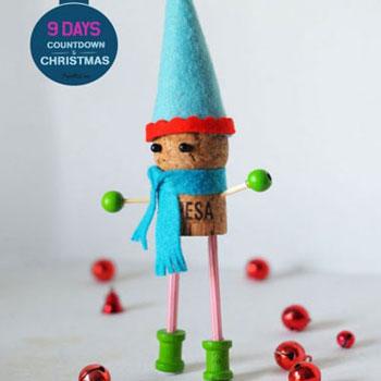 DIY Wine cork elf - Christmas craft for kids