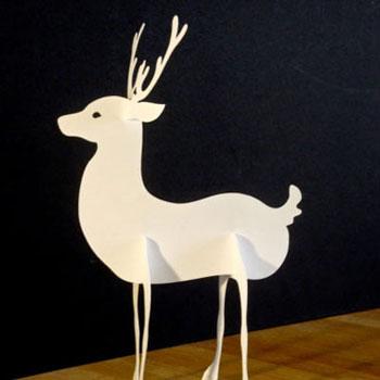 Papír rénszarvasos téli dekoráció ( sablonnal )
