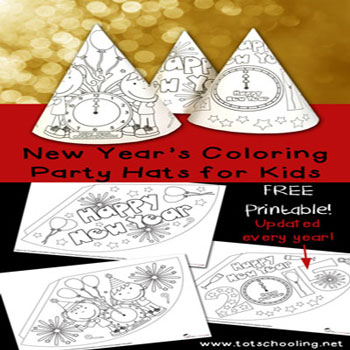 Colorable New year's eve party hats