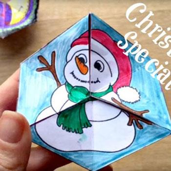 Varázslatos forgatható papír játék téli motívumokkal