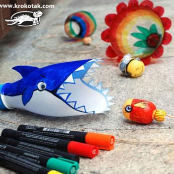 Cápás elkapó játék újrahasznosított műanyag palackokból