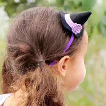 DIY mini felt witch hat headband
