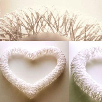 Szívecskés Valentin-napi ( tavaszi dekoráció ) fonalból egyszerűen