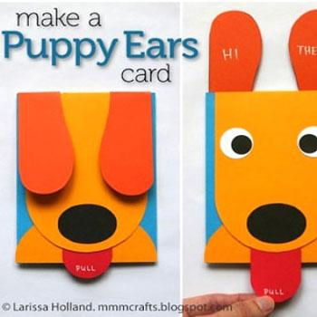 Vicces mozgatható fülű kutyás képeslap (sablonnal)
